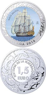 1.5 euro coin Spanish Vessel | Spain 2018