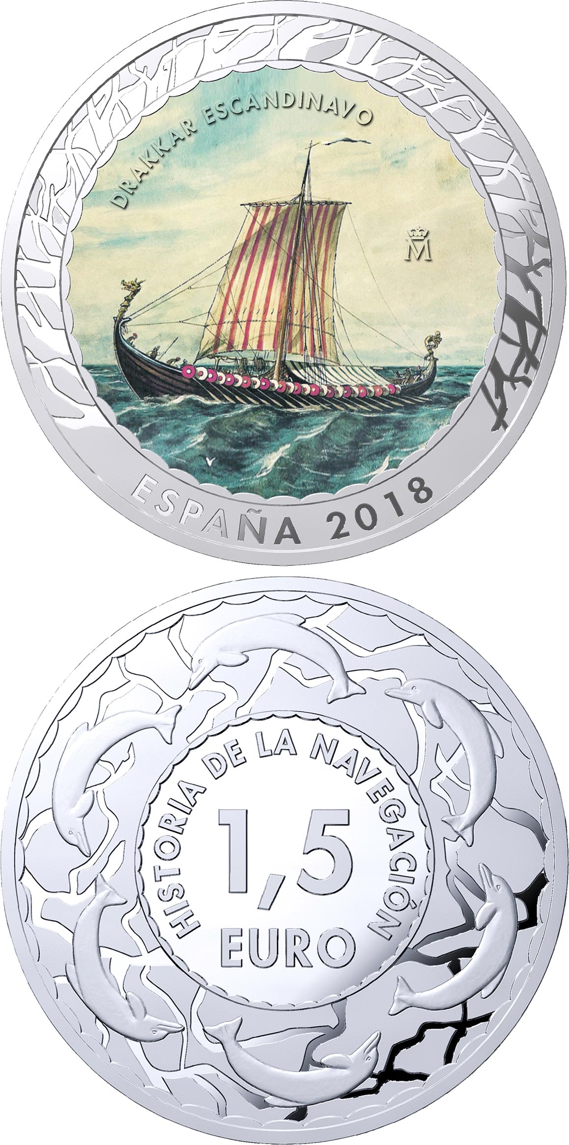 Image of 1.5 euro coin - Scandinavian Drakkar | Spain 2018.  The Copper–Nickel (CuNi) coin is of BU quality.