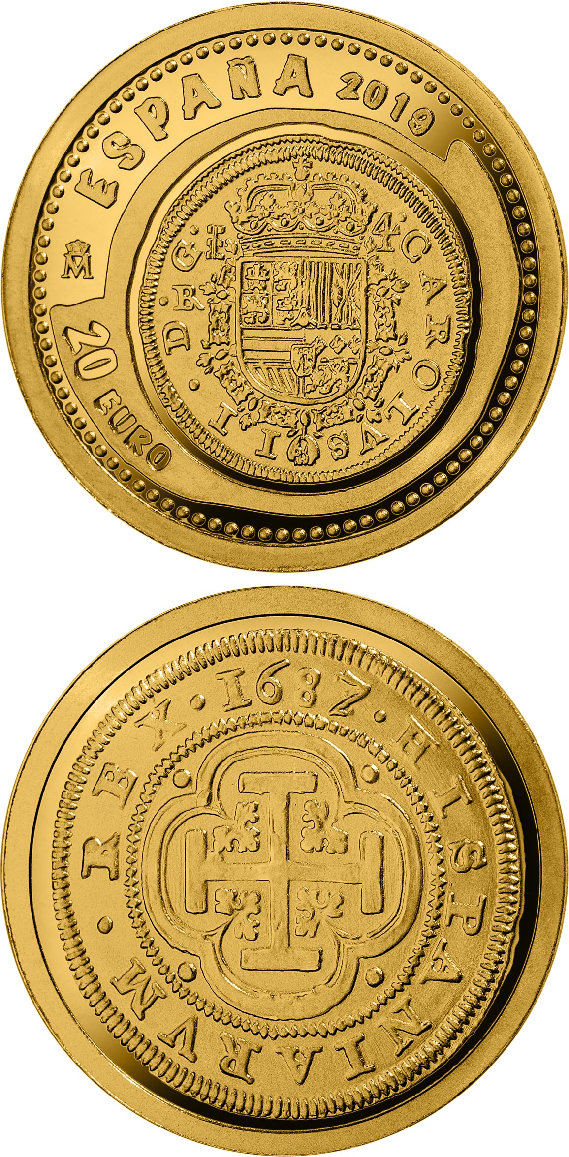 Image of 20 euro coin – 9th Series Numismatic Treasures - House of Habsburg | Spain 2019.  The Gold coin is of Proof quality.