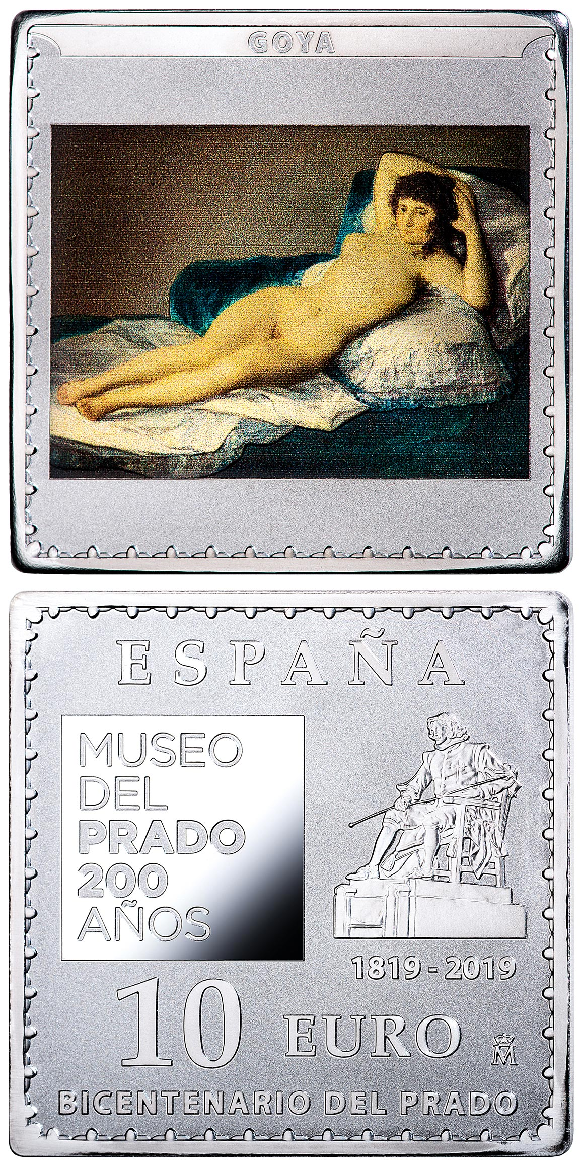 Image of 10 euro coin - Bicentenary of the Museum del Prado - La maja desnuda | Spain 2019.  The Silver coin is of Proof quality.
