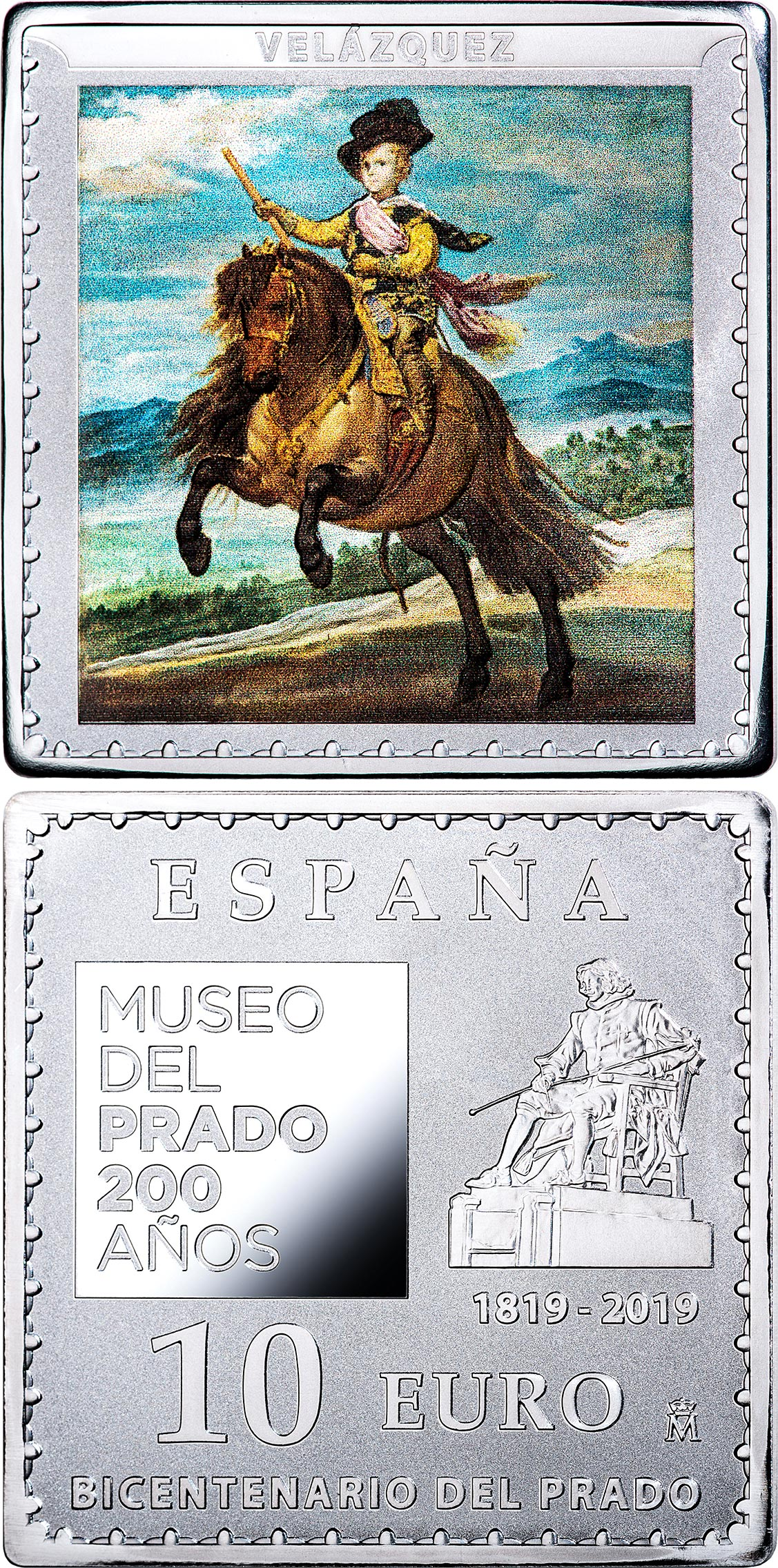 Image of 10 euro coin - Bicentenary of the Museum del Prado - Prince Baltasar Carlos, on horseback | Spain 2019.  The Silver coin is of Proof quality.
