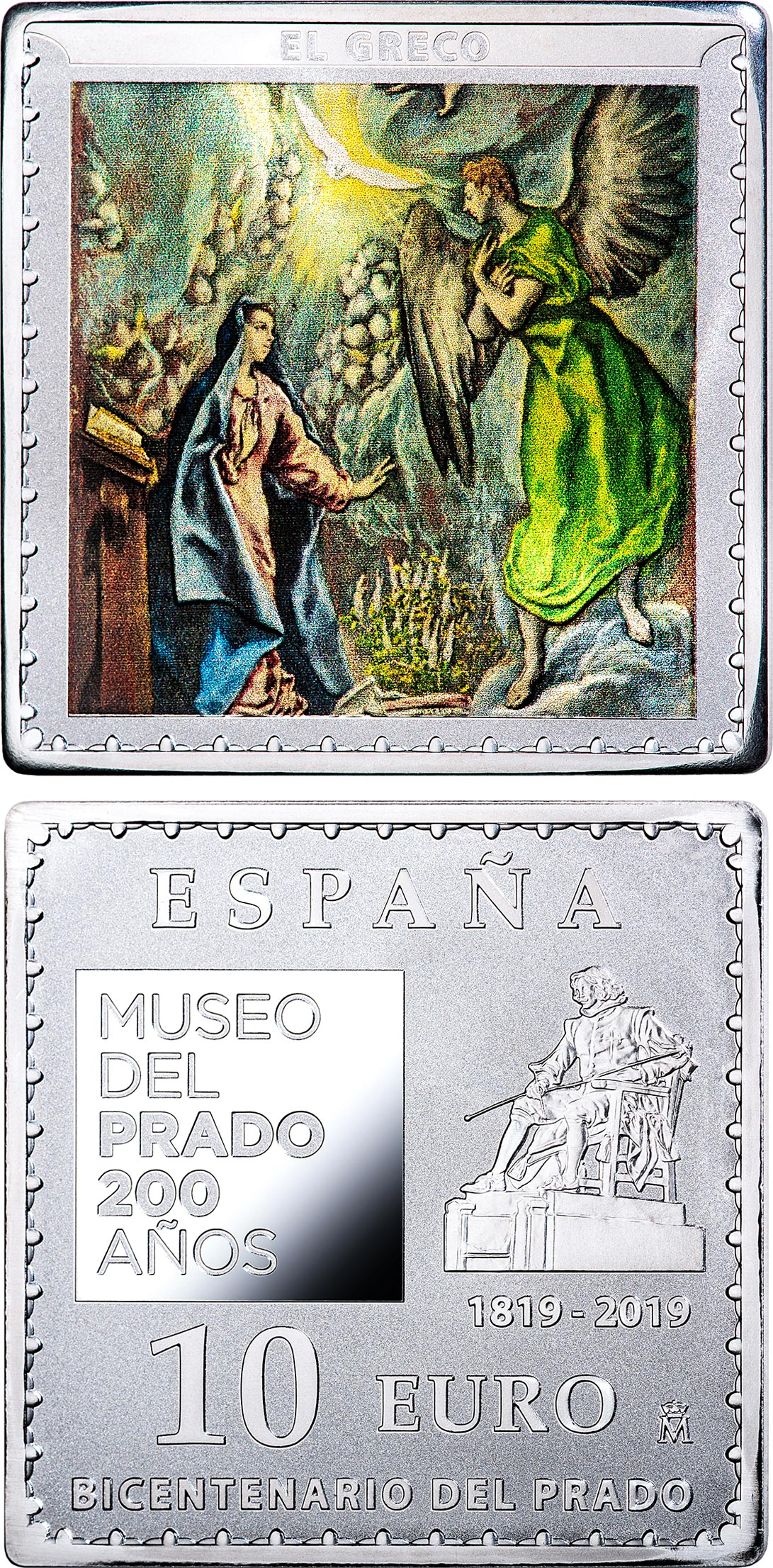 Image of 10 euro coin - Bicentenary of the Museum del Prado - The Annunciation | Spain 2019.  The Silver coin is of Proof quality.