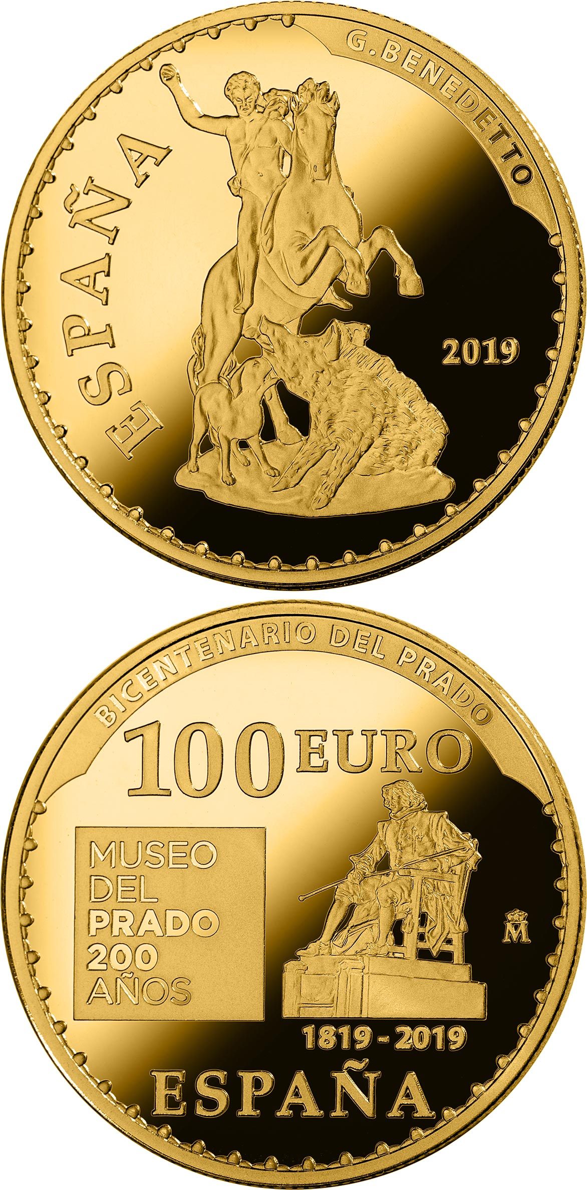 Image of 100 euro coin - Bicentenary of the Museum del Prado - The hunting of Meleagro | Spain 2019.  The Gold coin is of Proof quality.