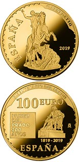 100 euro coin Bicentenary of the Museum del Prado - The hunting of Meleagro | Spain 2019