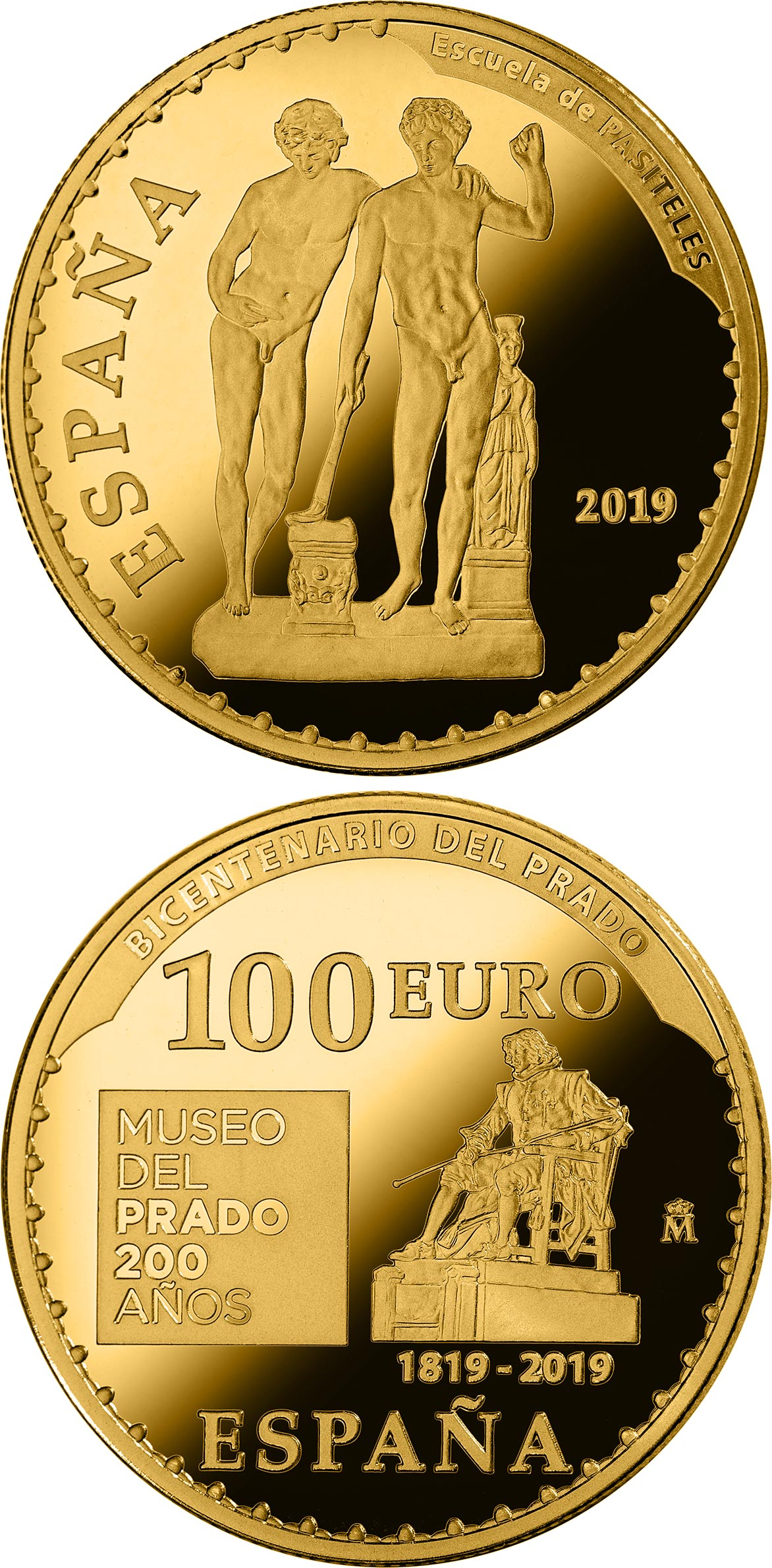 Image of 100 euro coin - Bicentenary of the Museum del Prado - Orestes y Pílades or Grupo de San Ildefonso | Spain 2019.  The Gold coin is of Proof quality.