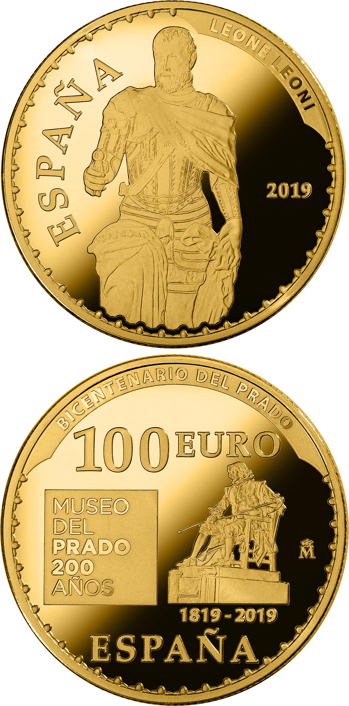 Image of 100 euro coin - Bicentenary of the Museum del Prado - Carlos V | Spain 2019.  The Gold coin is of Proof quality.