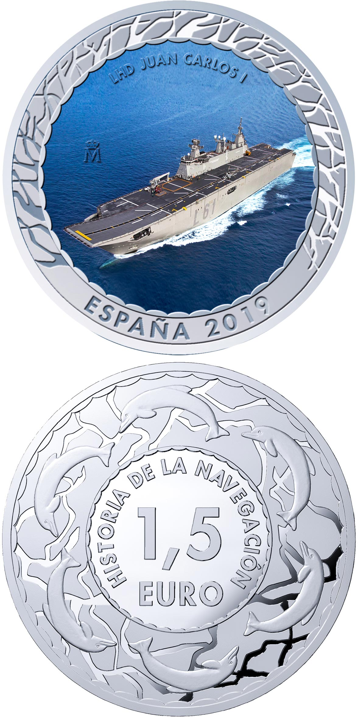 Image of 1.5 euro coin - LHD Juan Carlos I | Spain 2019.  The Copper–Nickel (CuNi) coin is of BU quality.