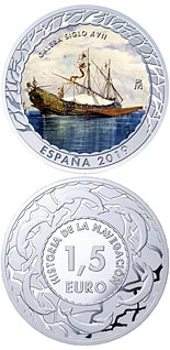 1.5 euro coin 17th Century Galley | Spain 2019