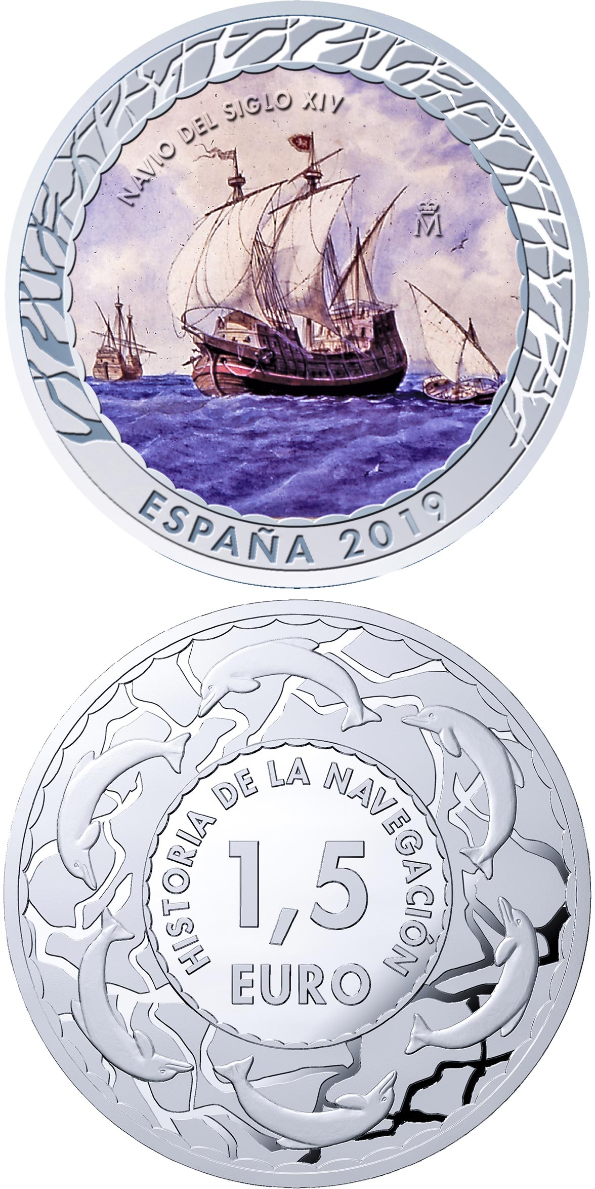 Image of 1.5 euro coin - 14th Century Ship | Spain 2019.  The Copper–Nickel (CuNi) coin is of BU quality.
