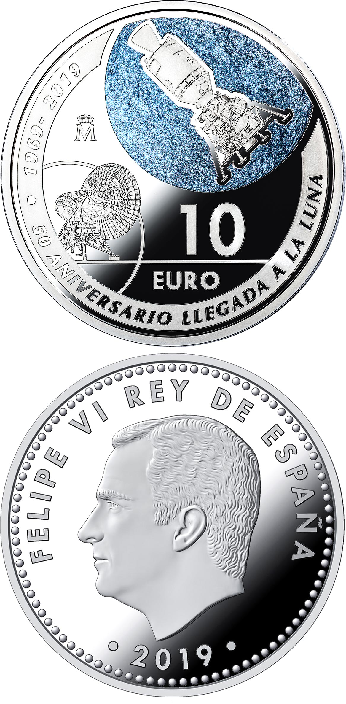 Image of 10 euro coin - 50th Anniversary of 1st Landing on the Moon   | Spain 2019.  The Silver coin is of Proof quality.