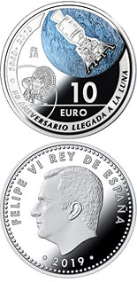 10 euro coin 50th Anniversary of 1st Landing on the Moon   | Spain 2019