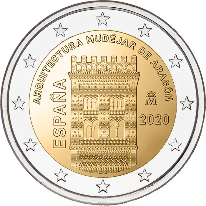 Image of 2 euro coin - Mudéjar Architecture of Aragon | Spain 2020