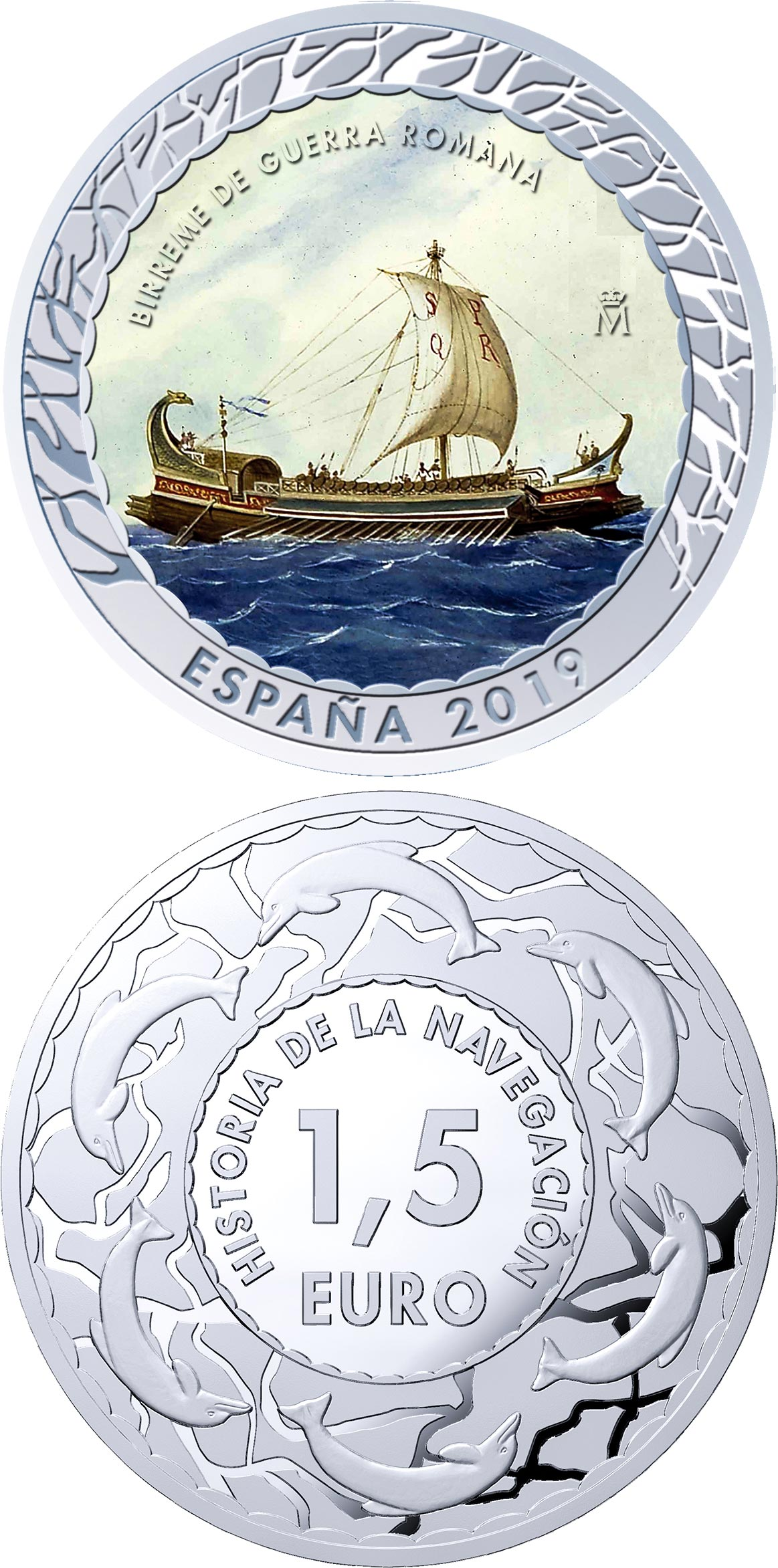 Image of 1.5 euro coin - Roman Bireme | Spain 2019.  The Copper–Nickel (CuNi) coin is of BU quality.