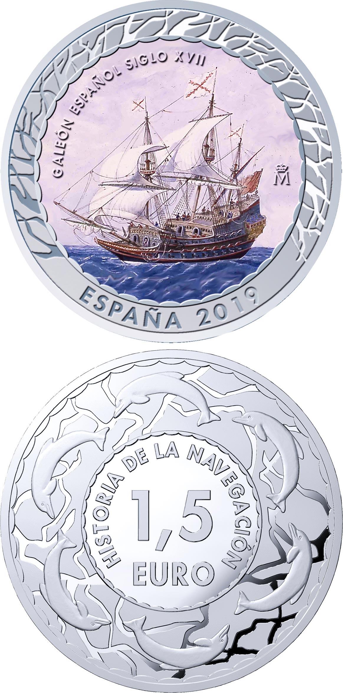 Image of 1.5 euro coin - 17th Century Galleon | Spain 2019.  The Copper–Nickel (CuNi) coin is of BU quality.