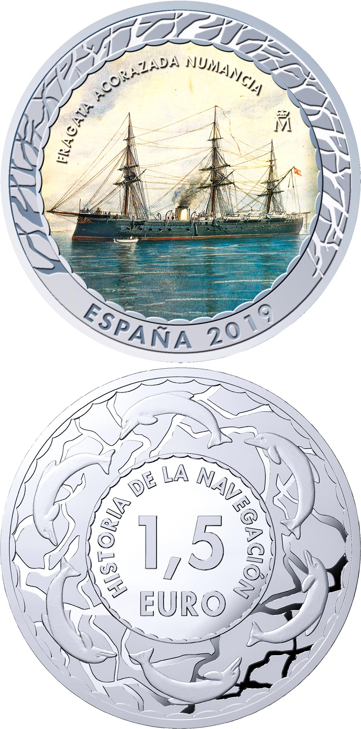 Image of 1.5 euro coin - Spanish Ironclad Numancia | Spain 2019.  The Copper–Nickel (CuNi) coin is of BU quality.