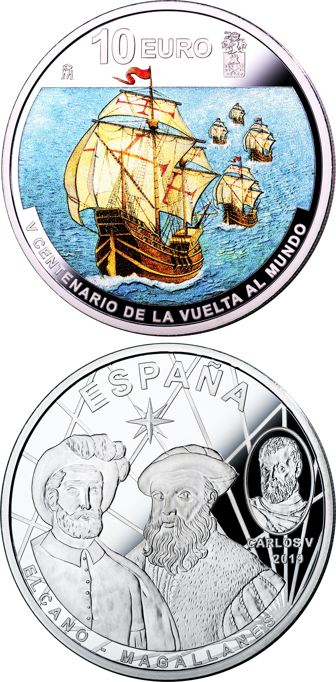 Image of 10 euro coin - 1st Round-The-World Voyage | Spain 2019.  The Silver coin is of Proof quality.
