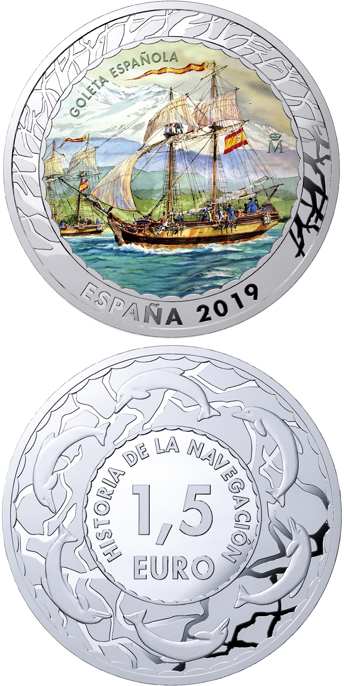 Image of 1.5 euro coin - Spanish Schooner | Spain 2019.  The Copper–Nickel (CuNi) coin is of BU quality.