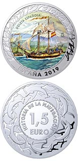 1.5 euro coin Spanish Schooner | Spain 2019