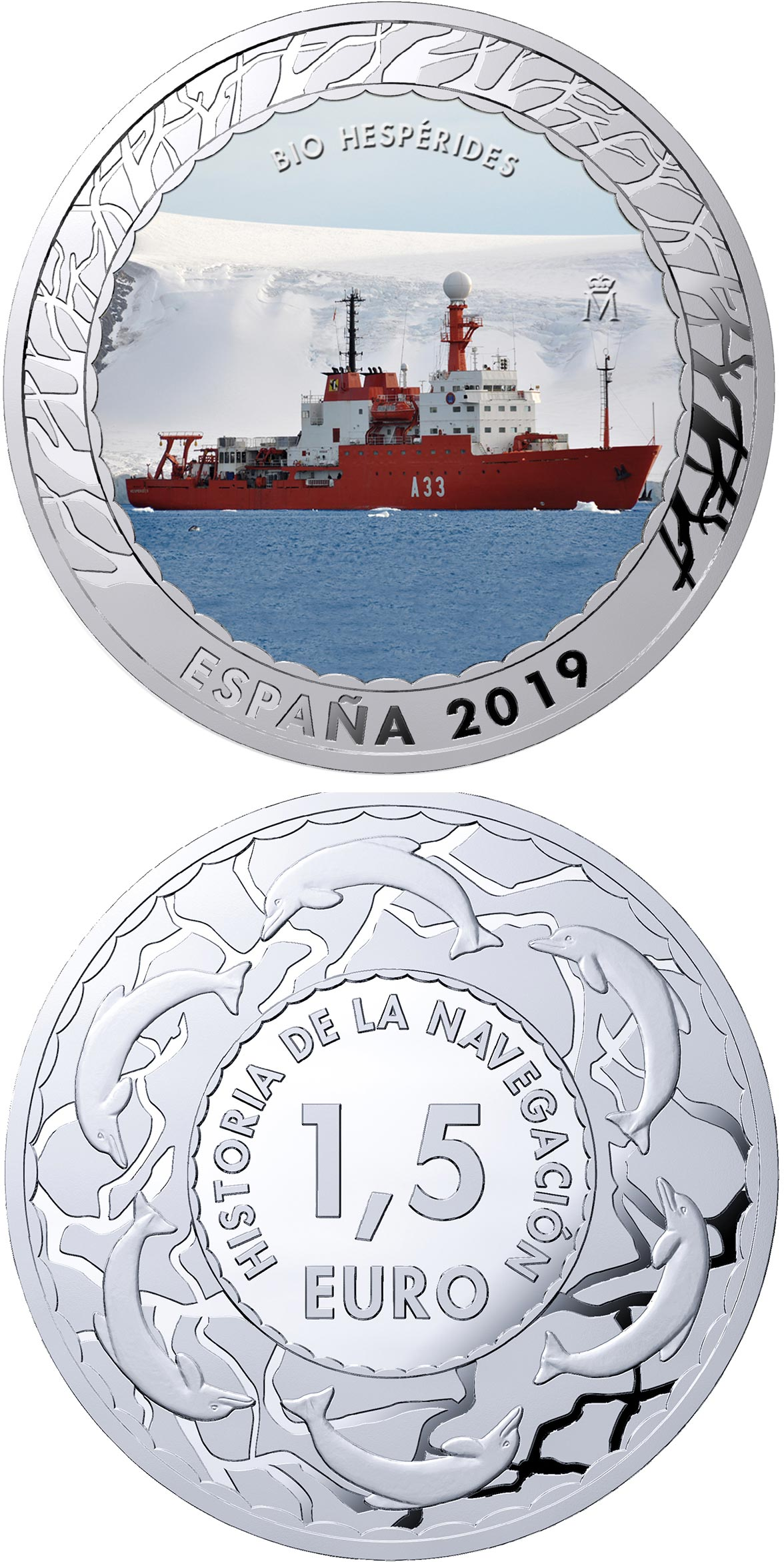 Image of 1.5 euro coin - Bio Hespérides | Spain 2019.  The Copper–Nickel (CuNi) coin is of BU quality.