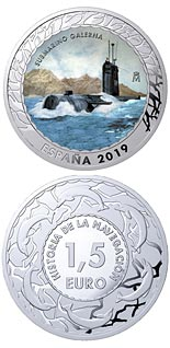 1.5 euro coin Submarine Galerna | Spain 2019