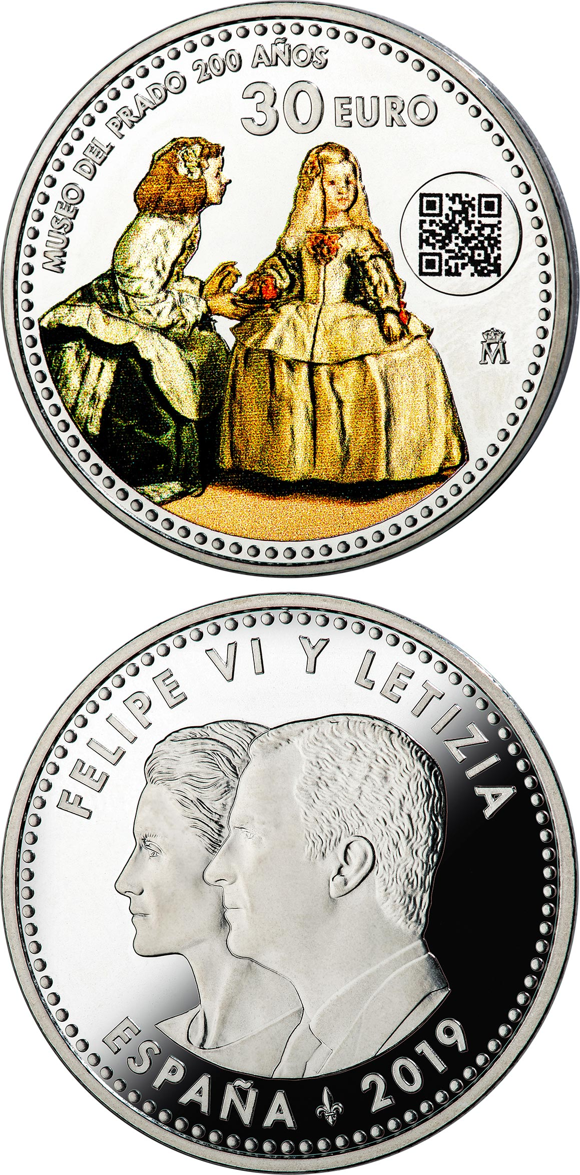 Image of 30 euro coin - Bicentennial of Prado Museum | Spain 2019.  The Silver coin is of BU, UNC quality.