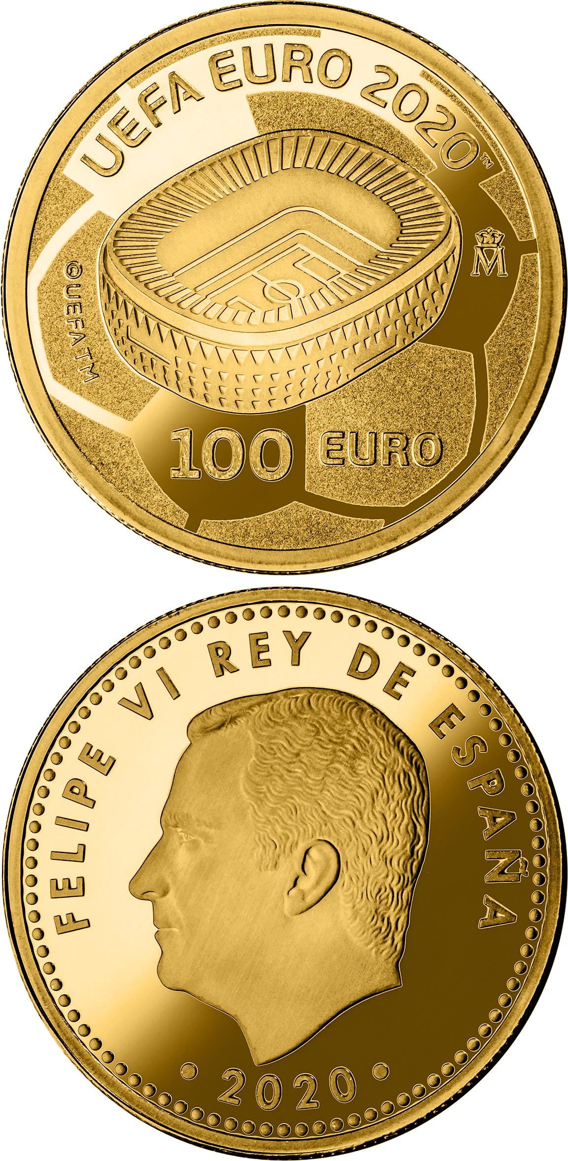 Image of 100 euro coin - UEFA EURO 2020 | Spain 2020.  The Gold coin is of Proof quality.