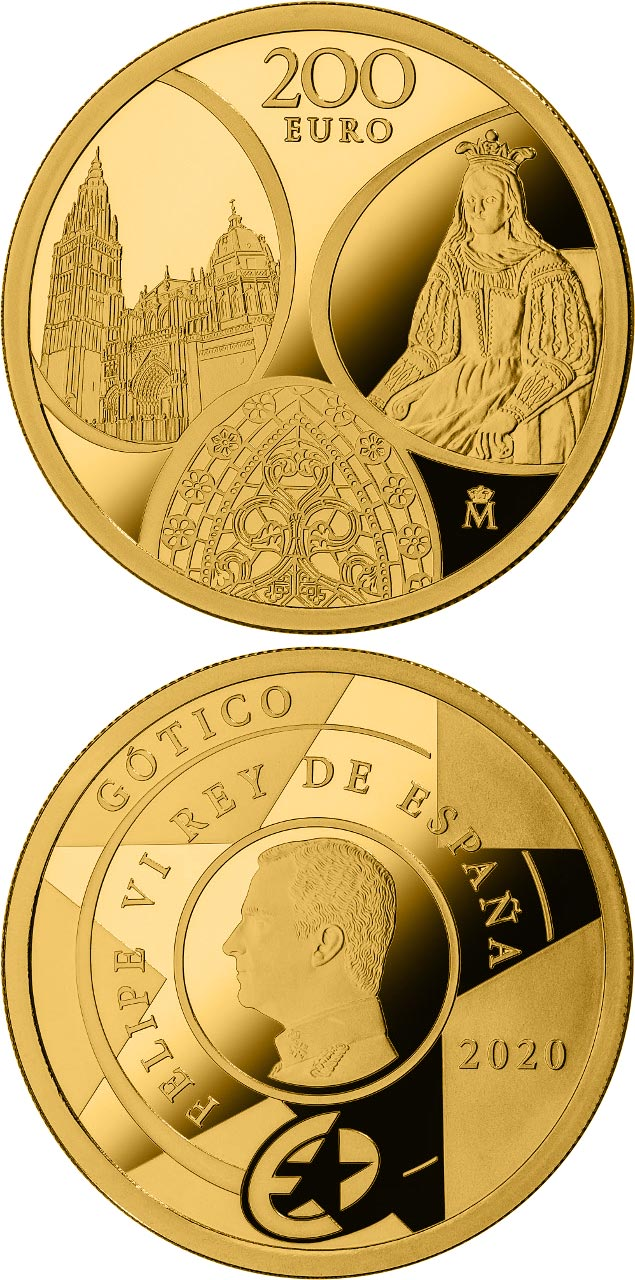 Image of 200 euro coin - Gothic | Spain 2020.  The Gold coin is of Proof quality.