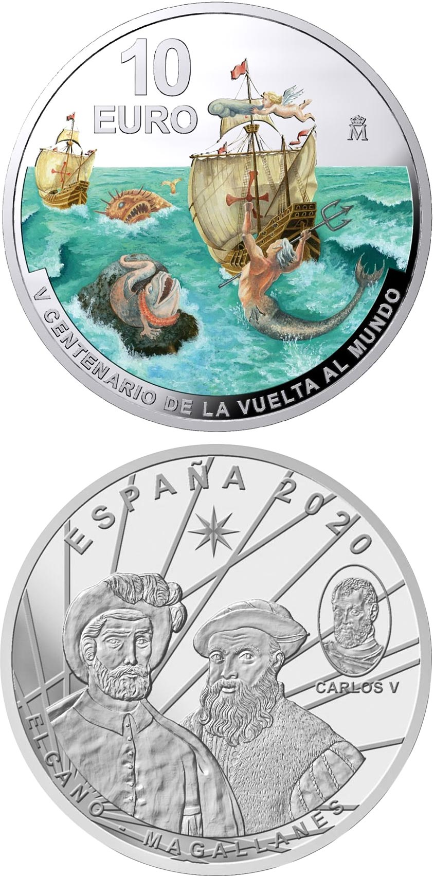 Image of 10 euro coin - 500th Anniversary of First World Circumnavigation - Elcano | Spain 2020.  The Silver coin is of Proof quality.