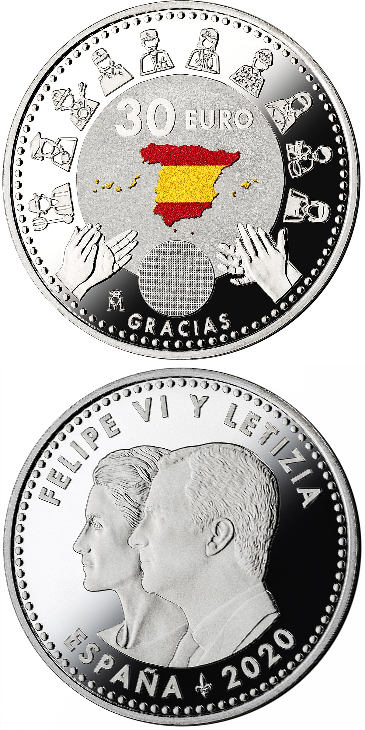 Image of 30 euro coin - Gracias | Spain 2020.  The Silver coin is of BU, UNC quality.