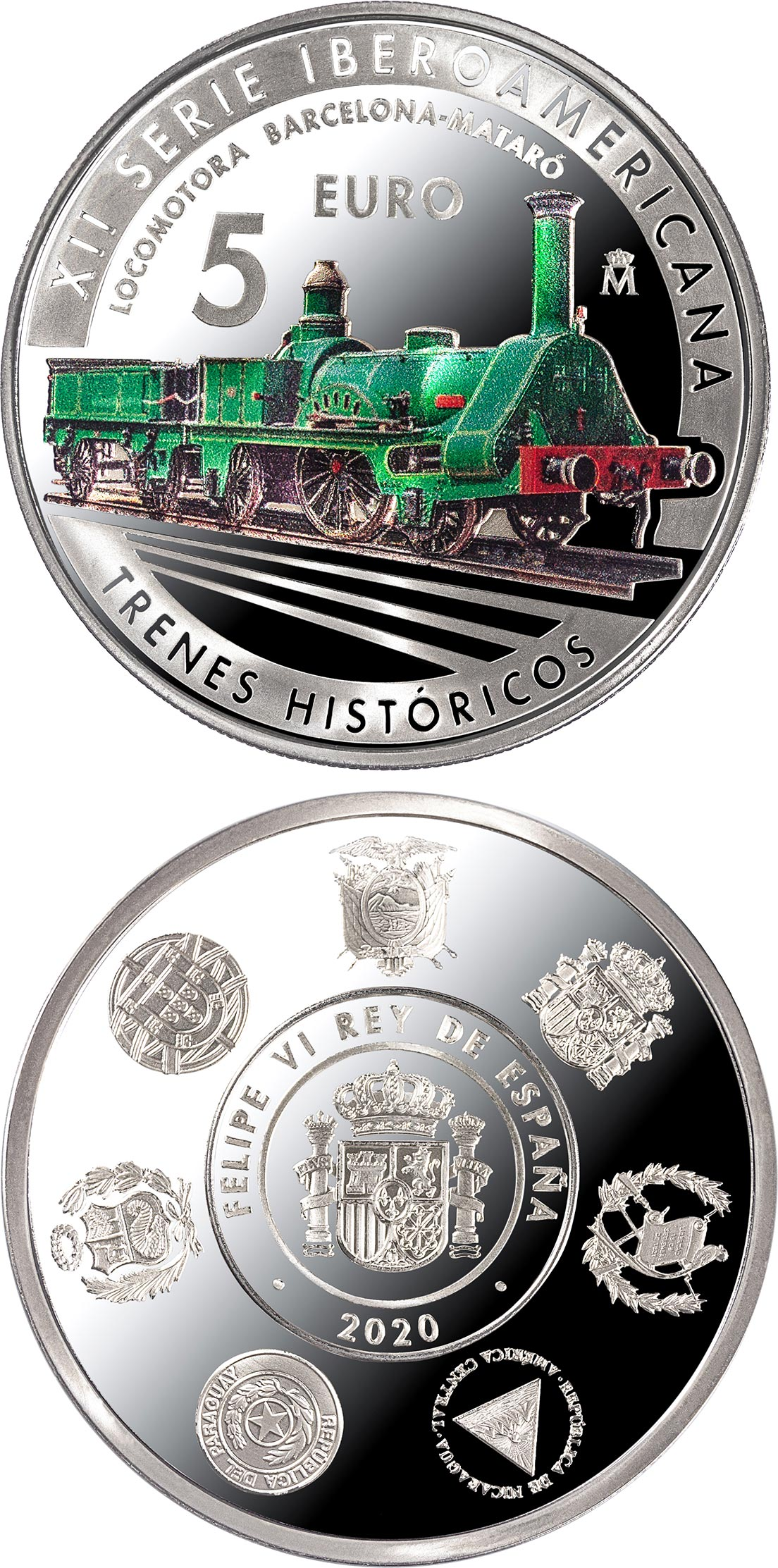 Image of 5 euro coin - 12th Ibero-american Series: Historic Railways | Spain 2020.  The Silver coin is of Proof quality.