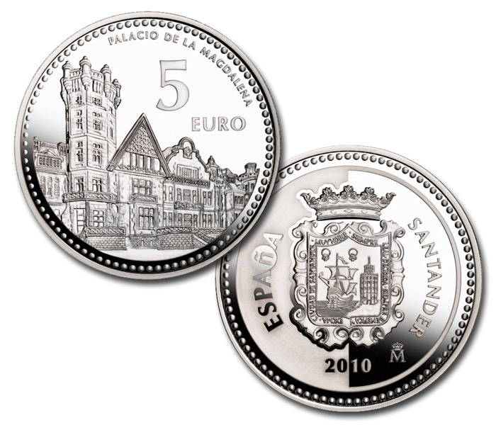 Image of 5 euro coin - Santander | Spain 2010.  The Silver coin is of Proof quality.
