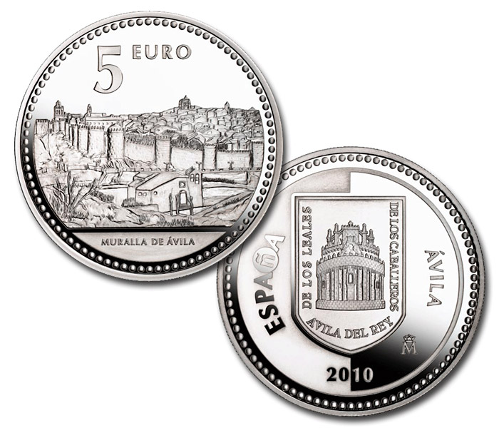 Image of 5 euro coin - Ávila | Spain 2010.  The Silver coin is of Proof quality.