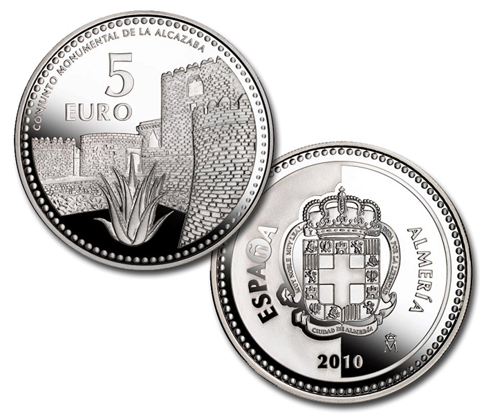 Image of 5 euro coin – Almería | Spain 2010.  The Silver coin is of Proof quality.