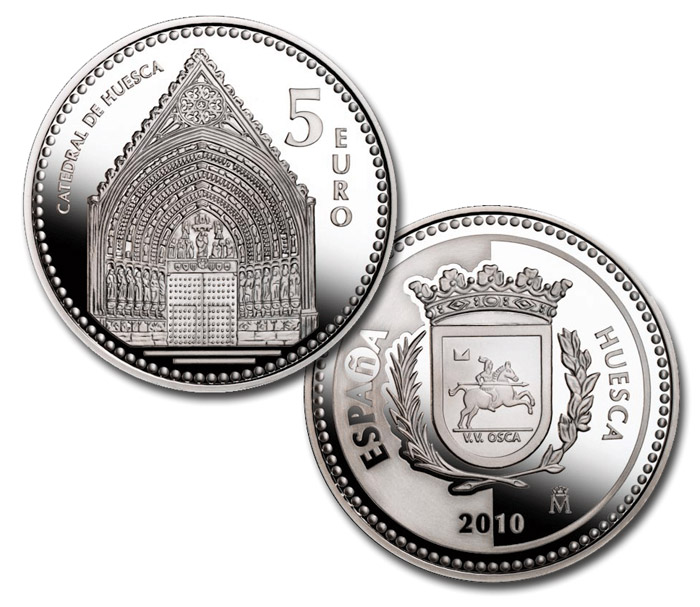 Image of 5 euro coin - Huesca | Spain 2010.  The Silver coin is of Proof quality.