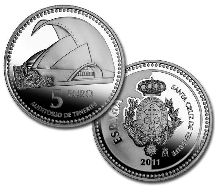 Image of 5 euro coin – Santa Cruz de Tenerife  | Spain 2011.  The Silver coin is of Proof quality.