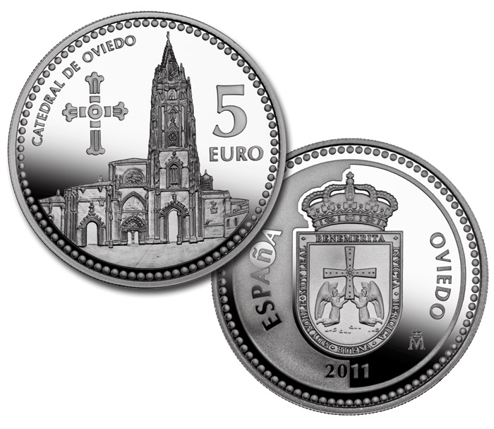 Image of 5 euro coin – Oviedo  | Spain 2011.  The Silver coin is of Proof quality.