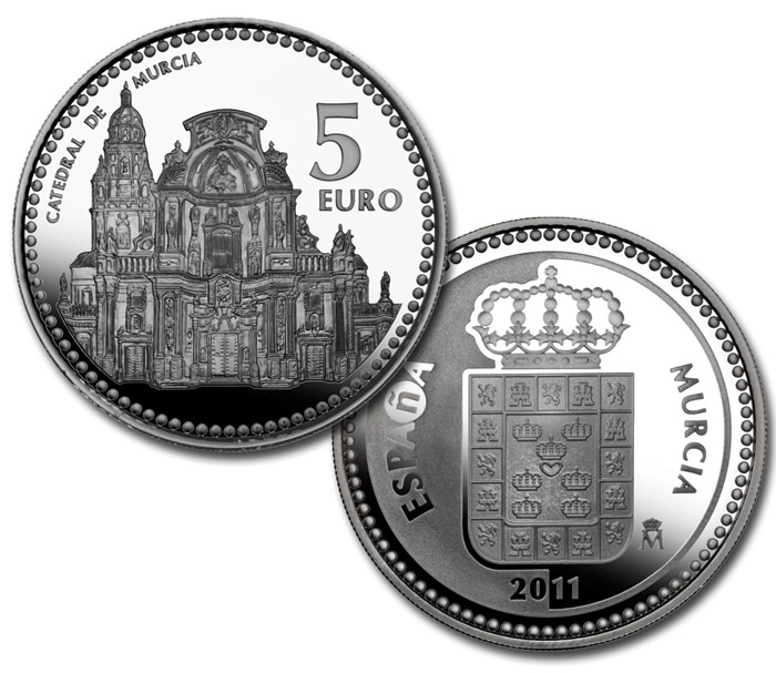 Image of 5 euro coin Murcia  | Spain 2011.  The Silver coin is of Proof quality.