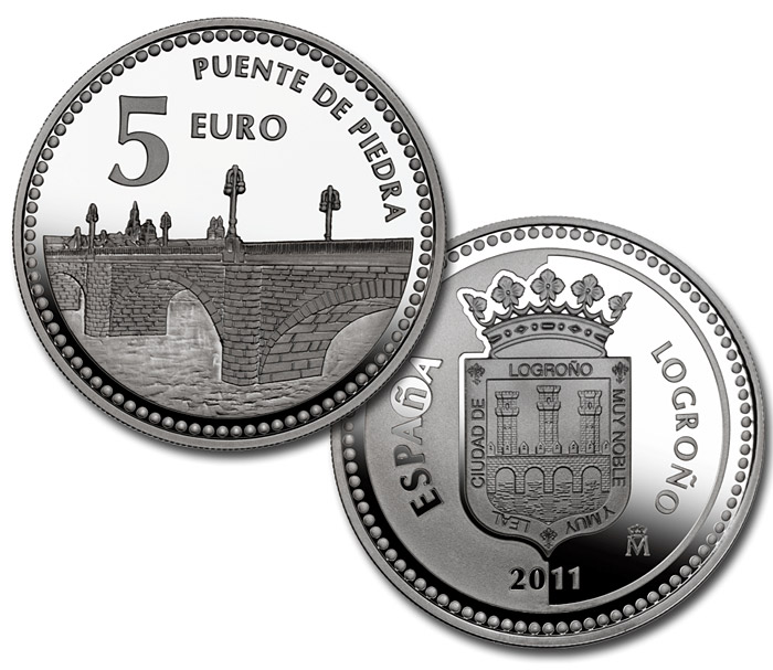 Image of Logroño  – 5 euro coin Spain 2011.  The Silver coin is of Proof quality.