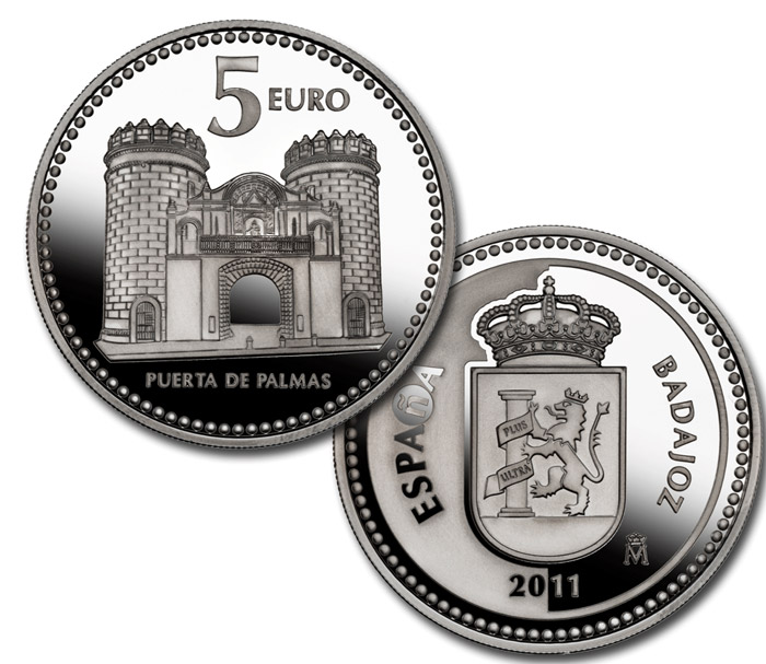 5 euro coin badajoz spain 2011. Black Bedroom Furniture Sets. Home Design Ideas