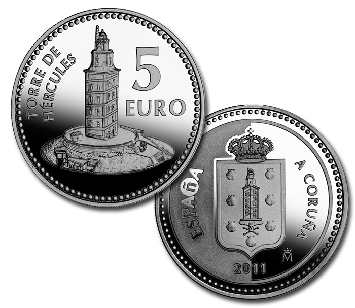 Image of 5 euro coin - A Coruña  | Spain 2011.  The Silver coin is of Proof quality.