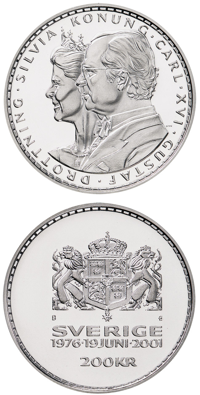 Image of 200 krona coin King Carl XVI Gustaf's and Queen Silvia's silver wedding anniversary | Sweden 2001.  The Silver coin is of Proof quality.