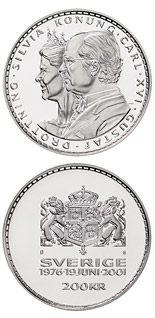 200 krona coin King Carl XVI Gustaf's and Queen Silvia's silver wedding anniversary | Sweden 2001