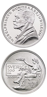 200 krona 100th anniversary of the foundation of the Nobel prize - 2001 - Series: Silver coins - Sweden
