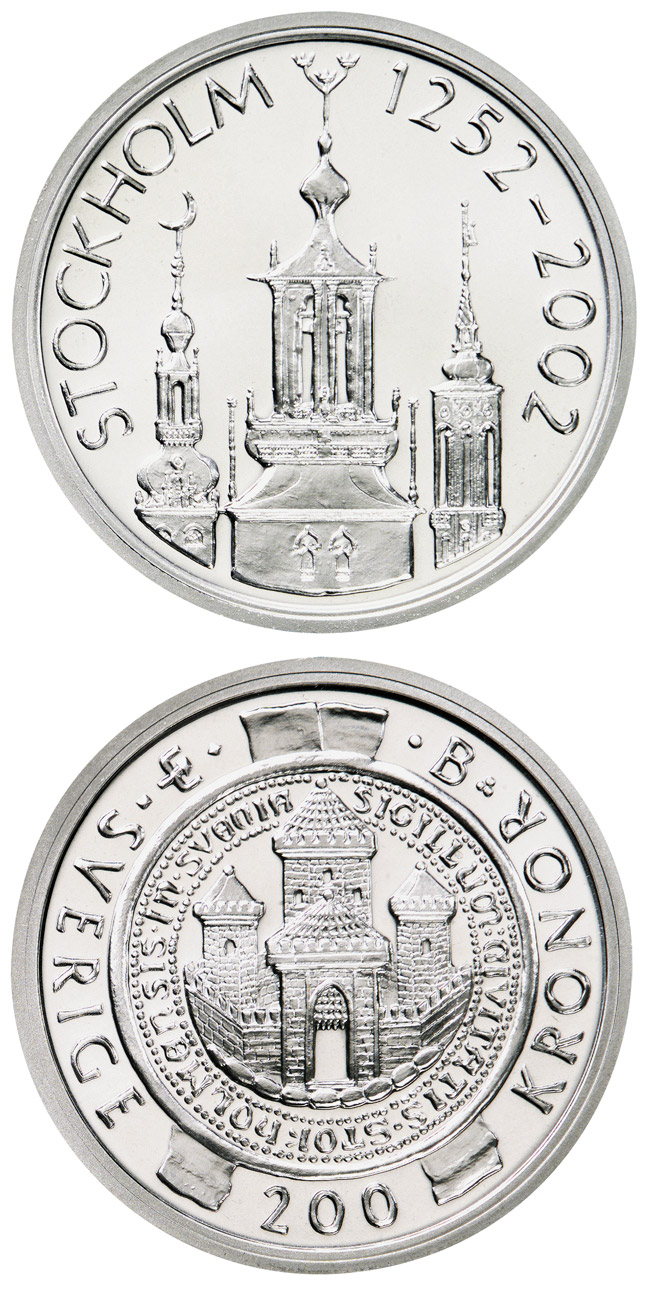 Image of 200 krona coin – Stockholm 750th anniversary | Sweden 2002.  The Silver coin is of Proof quality.