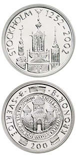 200 krona coin Stockholm 750th anniversary | Sweden 2002
