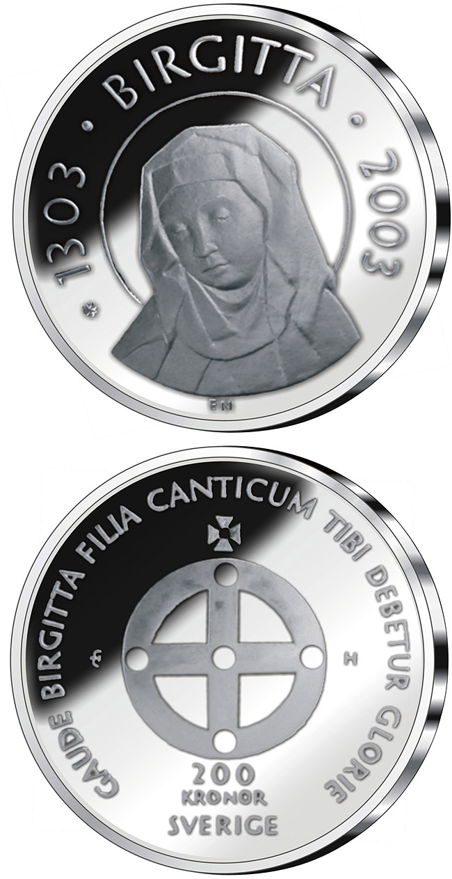 Image of 200 krona coin – 700th anniversary of the birth of Saint Birgitta | Sweden 2003.  The Silver coin is of Proof quality.