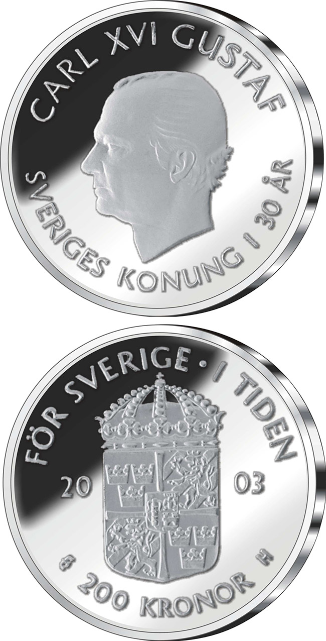Image of 200 krona coin – 30th anniversary of King Carl XVI Gustaf's accession to the throne | Sweden 2003.  The Silver coin is of Proof quality.