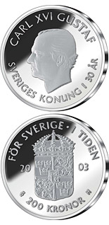 200 krona 30th anniversary of King Carl XVI Gustaf's accession to the throne - 2003 - Series: Silver coins - Sweden