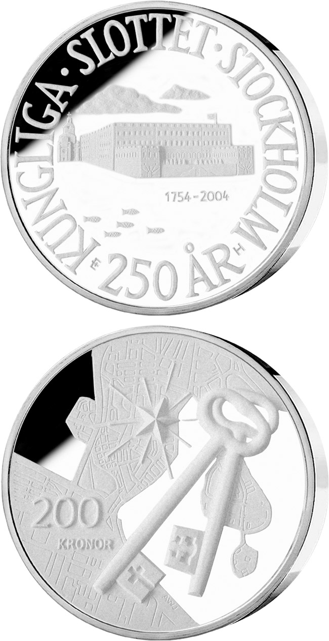Image of 200 krona coin - 250th anniversary of Royal Palace in Stockholm | Sweden 2004.  The Silver coin is of Proof quality.