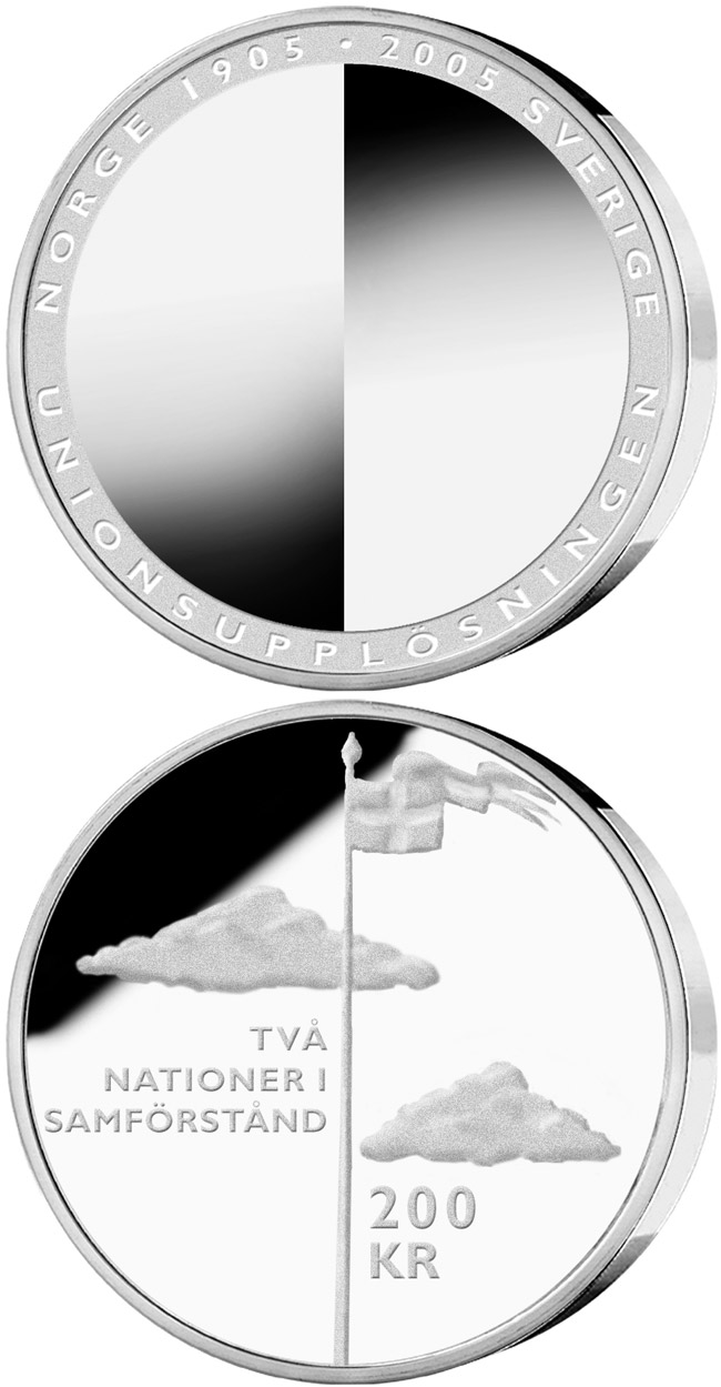 Image of 100th anniversary of the dissolution of the Swedish-Norwegian union – 200 krona coin Sweden 2005.  The Silver coin is of Proof quality.